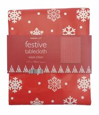 Christmas Snowflake Festive Tablecloth 137cm x 178cm Red Wipe Clean Durable NEW