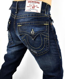 True Religion Men's Hand Picked Relaxed Slim Jeans - MNRE08ZOMW Size 27x34