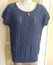 Women's BHS blue short sleeve jumper UK12 work office boxy blogger
