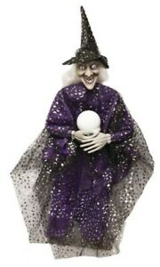 SPOOKY PURPLE HANGING HALLOWEEN WITCH WITH LIGHT-UP CRYSTAL BALL PROP DECORATION