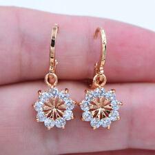 18K Yellow Gold Filled Clear Crystal Zircon Topaz Sunflower Earrings Jewelry