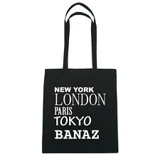 New York, LONDON, PARIS, TOKYO banaz - Bolsa de yute - Color: Negro