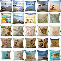 Bed Sofa Waist Cushion Cover 18'' Home Cotton Linen Sea Creature Pillow Case Car