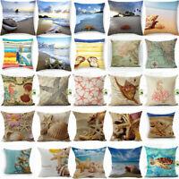 Bed Sofa Waist Cushion Cover 18'' Home Cotton Linen Sea Creature Pillow Case Car