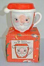 Vintage Dansan Original Mr. Santa Sip N Smoke Ceramic Mug Set in original box