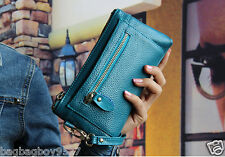 Genuine Leather Women's Wallet Handbag Zip Purse Lady's Wristlet Clutch Bag
