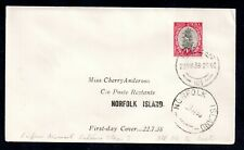 South Africa 1938 1d cover (FDC) to Norfolk Island WS18417