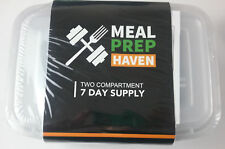 Meal Prep Haven 7 Stackable Containers 2 Compartment With Lids Diet