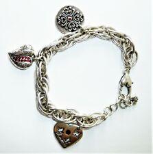 Brighton Enamel Heart Charm Bracelet Courage Love Hope Dreams Silver Tone