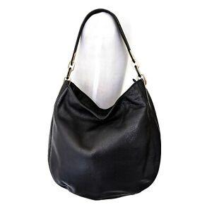 MICHAEL Michael Kors Black Gold Pebble Leather Medium Hobo Shoulder Bag