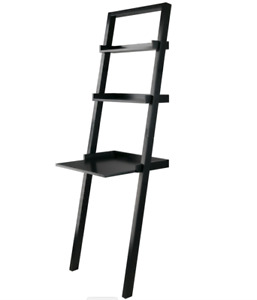 Bellamy Leaning Desk With 2 Shelves, Black by Winsome