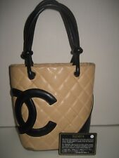 CHANEL Mini Cambon Black CC Quilted Beige Leather Shoulder Bag Handbag Purse