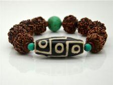 Big 9-eye dZi Bead Rudraksha Bodhi Seed Turquoise Bracelet , Powerful Energy!