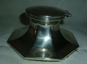 Antique Silver Capstan Inkwell by A & J Zimmerman, Birmingham 1913