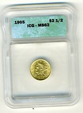 1905 LIBERTY HEAD QUARTER EAGLE $2.5 GOLD ICG MS62