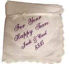 Happy Tears Wedding Handkerchief with an added name and date by Wedding Tokens