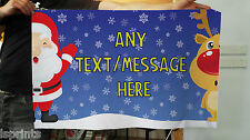 3 x 2 Ft Personalised Christmas Any Text Design Banner Flag & 4 Brass Eyelets
