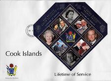 Isole Cook 2011 FDC Lifetime servizi 6V foglio COPERTURA REGINA ELISABETTA Philip