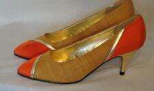 Nos Lovely Vintage 80's Orange & Gold Fabric High Heel Shoes 7 1/2 Cervelle