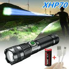 Super-Bright 90000LM Flashlight USB LED P70 Tactical Torch LED Recharge Battery