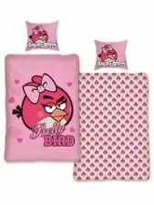 ANGRY BIRDS PRETTY BIRD SINGLE bed QUILT DOONA COVER SET new pink