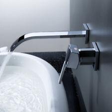 Wall Mount Bathroom Waterfall Water Tap Basin Sink Faucet  Mixer Chrome Modern