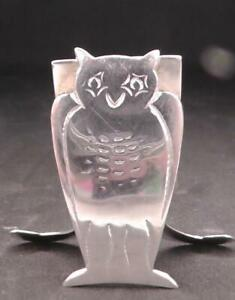Solid Silver Owl Menu Holder Dates 1909 by Maple & Co