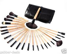 24 Piece Cosmetic Makeup Brush Set - with Black Leather Case