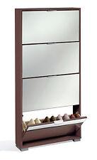 Armario mueble zapatero color wengue de 4 puertas abatibles y espejos dormitorio