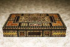 Schmuckkasten Holzschatulle  mit Perlmutt  Kunsthandwerk Damaskunst K 1-2-422