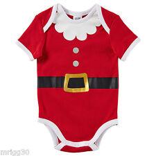 Baby size 0 SANTA CHRISTMAS summer Bodysuit  6-12 mths NEW Red white *FADE*