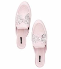 VICTORIA'S SECRET Velvet Bow Slippers, Pink/Rhinestone Size S