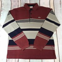 Men's Lacoste Long Sleeved Polo Shirt Striped Red Blue Grey L Large
