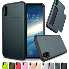 For iPhone X XS Max XR Hybrid Rubber Bumper Case Protective Cover With Card Slot