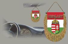 HUNGARY REAR VIEW MIRROR WORLD FLAG CAR BANNER PENNANT
