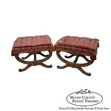 Vintage Pair of Hollywood Regency X Base Benches