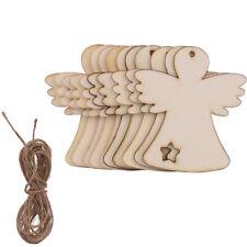 10x Wooden MDF Christmas Angel Shape Craft Blank Embellishment Bauble Xmas Gift