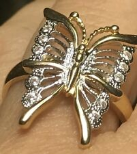 GOLD BuTtErFlY Ring 14k yellow White Simulated Diamond 7 5 6 8 9  3.6g