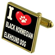 I Love My Dog Gold-Tone Cufflinks - Black Norwegian Elkhound