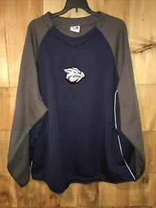 Majestic Lehigh Valley Iron Pigs Baseball Blue/Gray Pullover Sweatshirt Sz:XXL