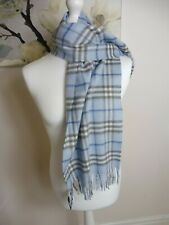 BURBERRY Check Cashmere scarf in Blue Authentic New  £370