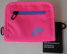 NIKE Heritage Bi-Fold Zip Small Wallet Color Pink Pow/Polar New