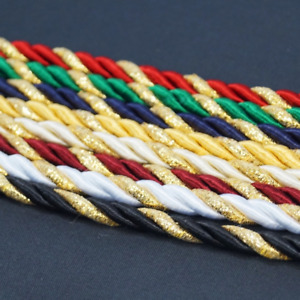 14 mint green metallic gold striped rope cord trim 18 yards