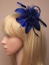 LADIES BLUE HAIR FASCINATOR HEAD 9847 BEADED FEATHER RACES WEDDING LADIES FLOWER