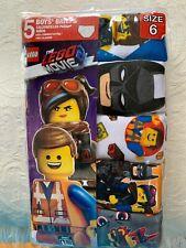 "Nip Boys The Lego Movie Briefs 5 Pair Size 6 Boy Fits 22 1/2"" Waist 44-51 pounds"