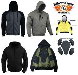 Australian Bikersgear Mens Motorcycle Motorbike Hoodie Jacket lined with KEVLAR®