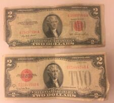1928 & 1953 Circulated Two Dollar ($2) Bills Red Seal Notes (1928G + 1953A)