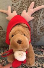 "CALTOY SHAR PEI PUCKER PUP PLUSH Christmas Reindeer Stocking Puppy DOG 7"" #Q9"