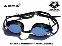 ARENA TRACKS RACING SWIMMING  GOGGLES, BLACK & BLUE MIRROR, TRAINING GOGGLE