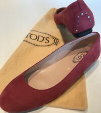Women's Tods Shoes Ballet Flats Size 36.5 Rose Red Suede $495 *Worn Once*